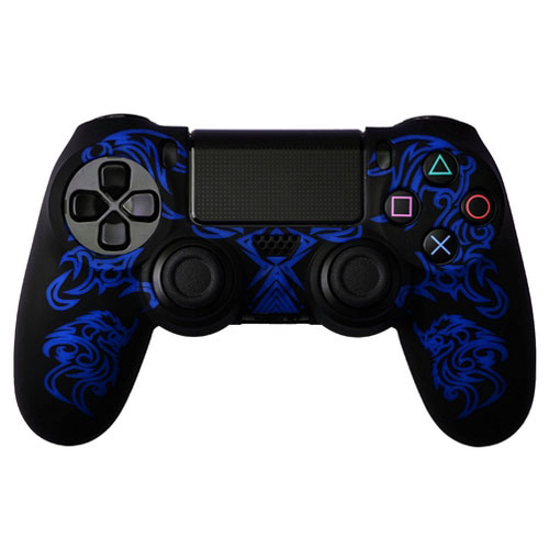 cover in silicone nero blu dragon per controller ps4 dual shock 4