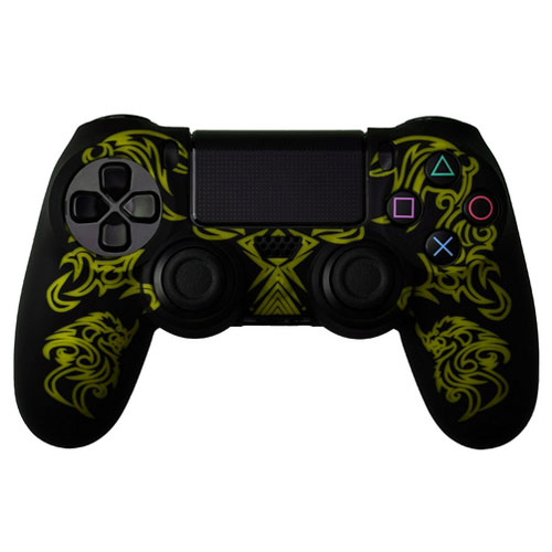 cover in silicone nero giallo dragon per controller ps4 dual shock 4