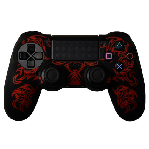 cover in silicone nero rosso dragon per controller ps4 dual shock 4