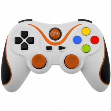 controller ps3 bluetooth wireless double shock 3 bianco arancio
