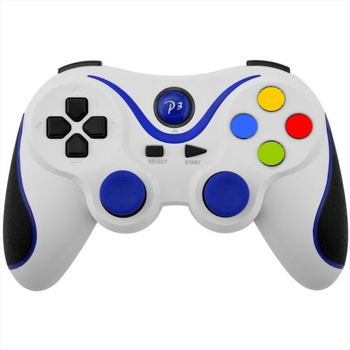 controller ps3 bluetooth wireless double shock 3 bianco blu