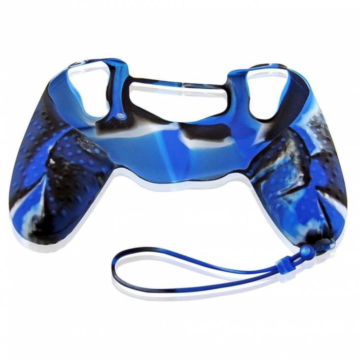 cover in silicone con laccio colorful blu per controller ps4 dual shock 4